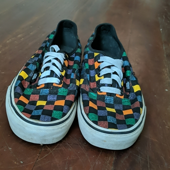Black And Multicolored Checkered Vans